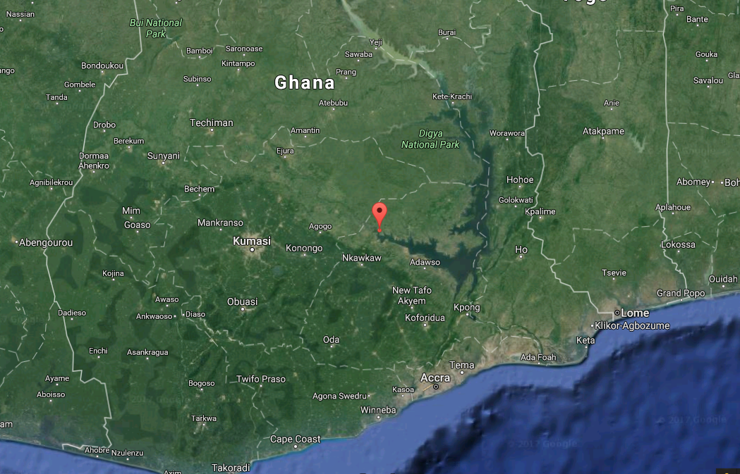 General location of Agbokpa, marked by the Google Maps pin